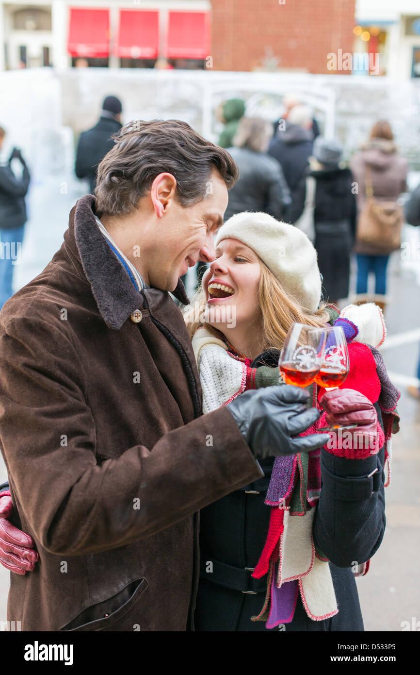 Canada,Ontario,Niagara-on-the-Lake,Ice Wine Festival, couple enjoying a glass of ice wine Stock Photo