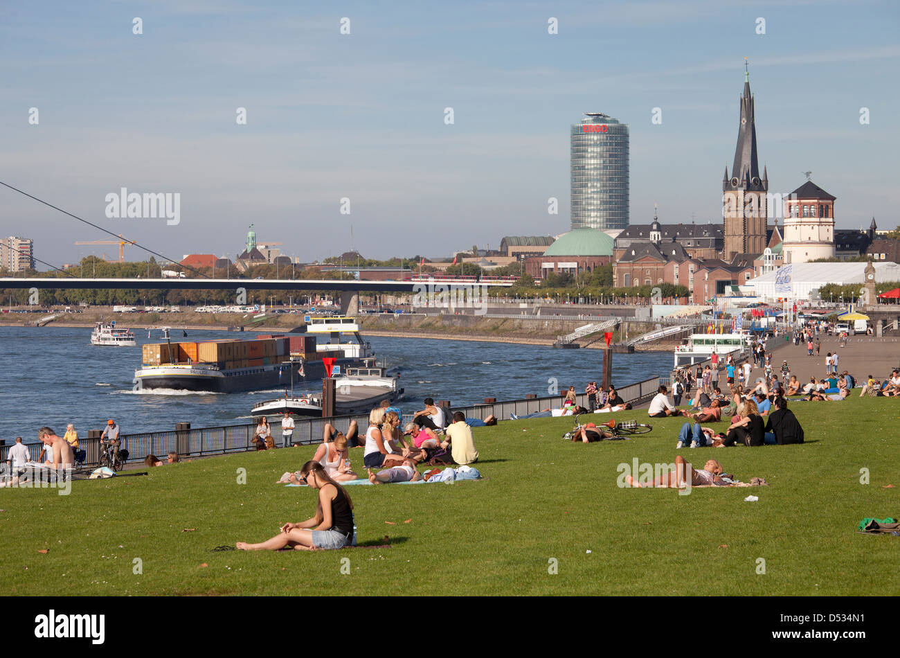 Duesseldorf, Germany, Rhine promenade Stock Photo
