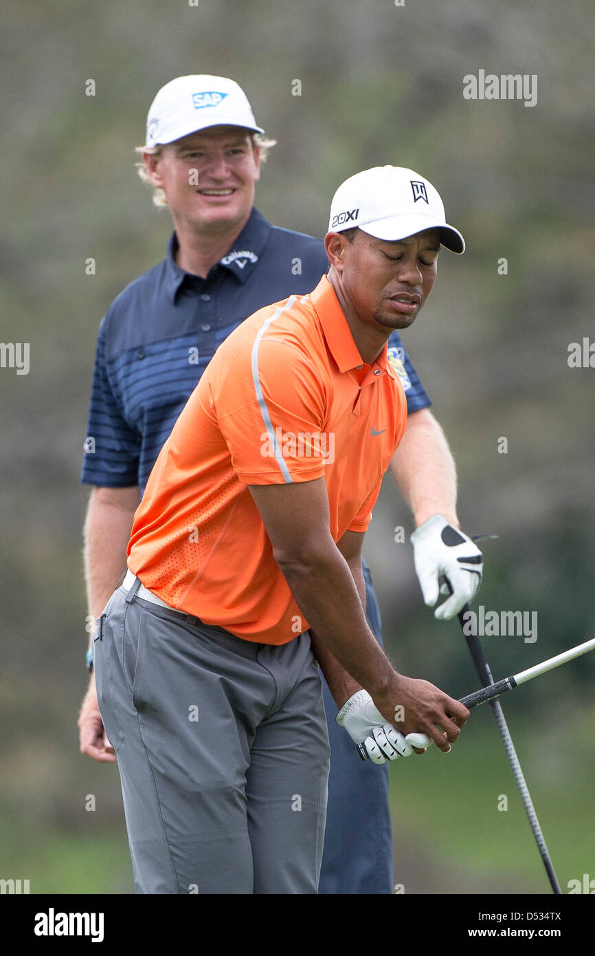 22nd March 2013. Tiger Woods reacts to his tee shot from the 16th during second round golf action of the Arnold Palmer Invitational presented by Mastercard ...