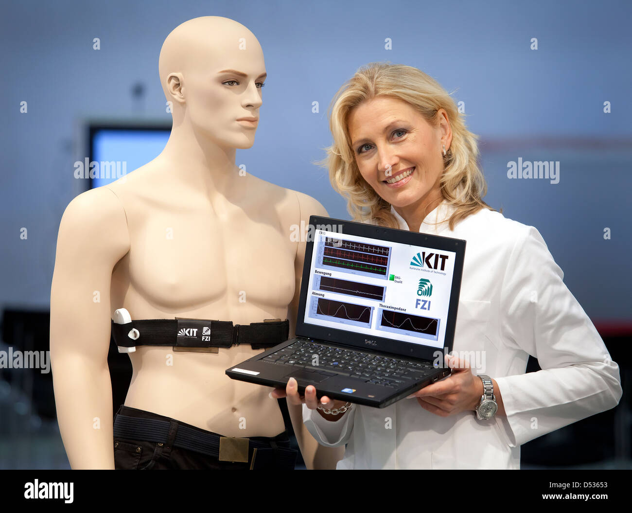 Duesseldorf, Germany, non-invasive ECG for permanent monitoring at Medica - Stock Image