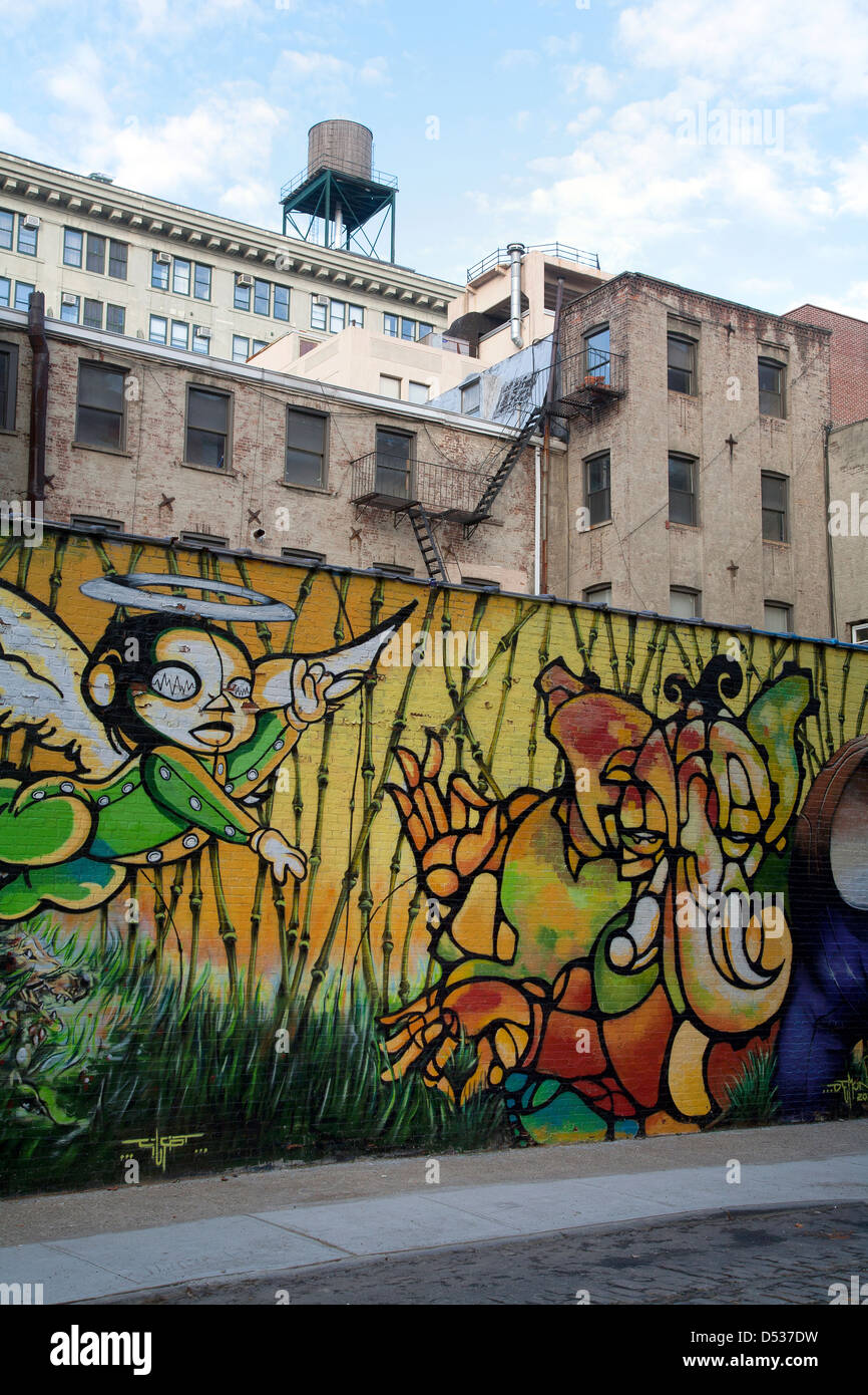New York City, USA, mural on a wall in Brooklyn - Stock Image
