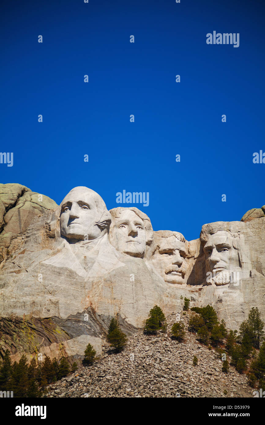 Mount Rushmore monument in South Dakota in the morning - Stock Image