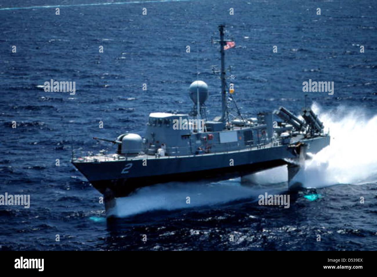 U S  Navy hydrofoil off Key West, Florida Stock Photo