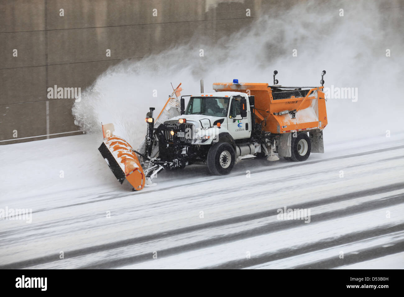 Truck blowing snow on highway after a snow storm in Kitchener Stock ...