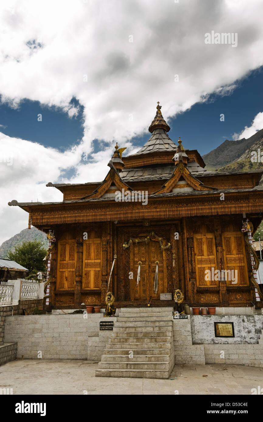 hinduism temple in himalayas mountain - Stock Image