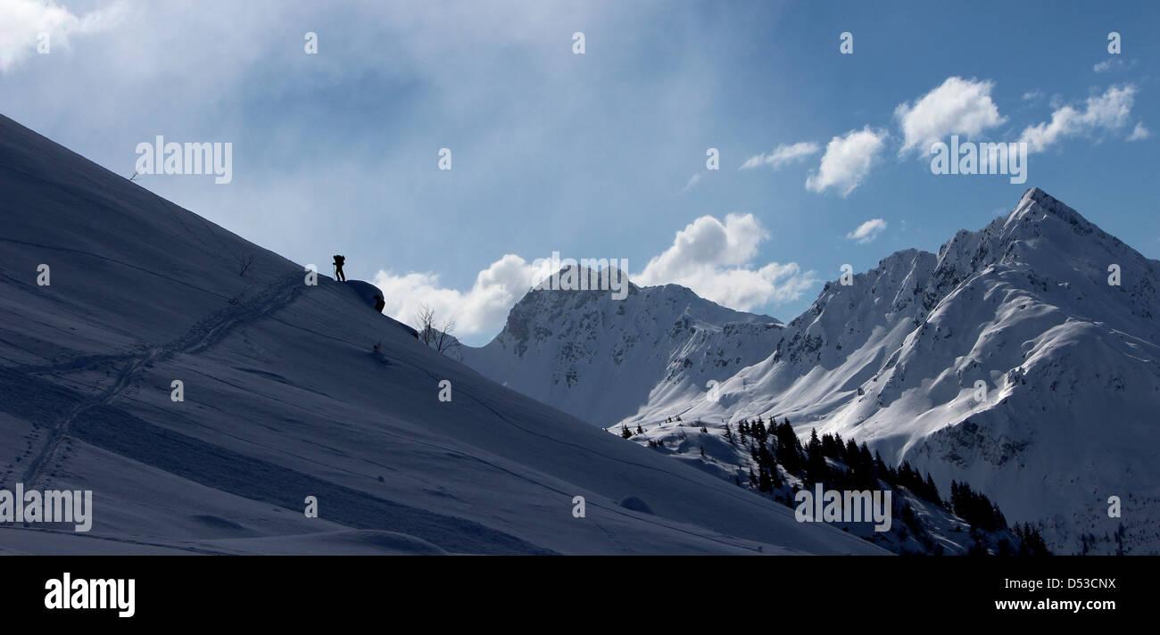 Ski touring Domes de Miage, France - Stock Image