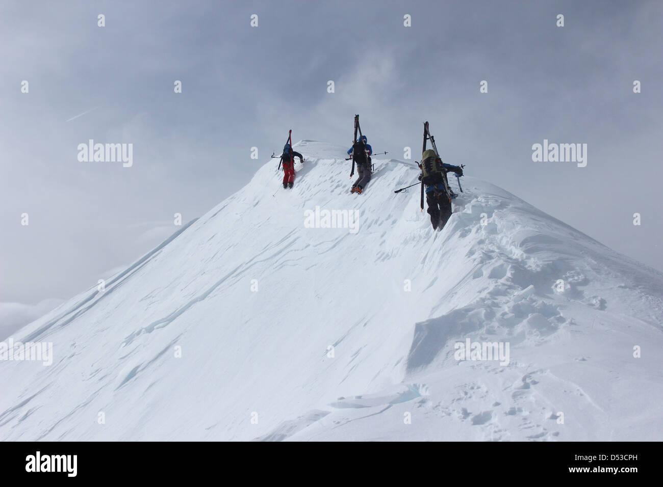 Ski touring ridge of Domes de Miage. - Stock Image