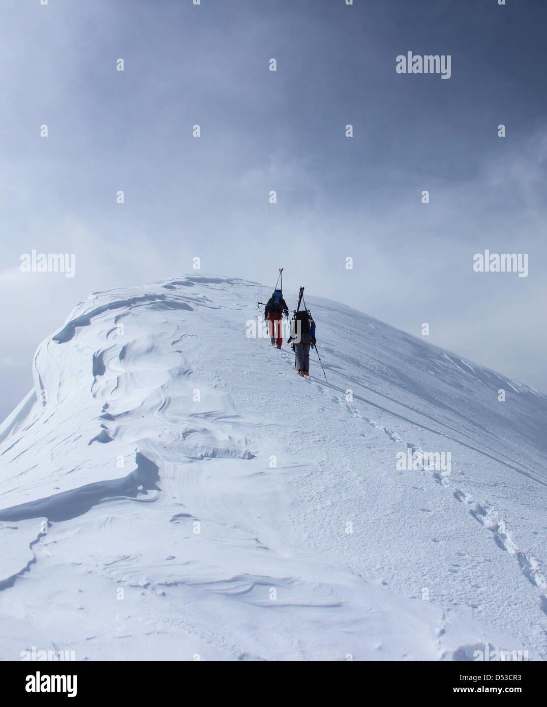 Ski tour summit of Domes de Miage - Stock Image