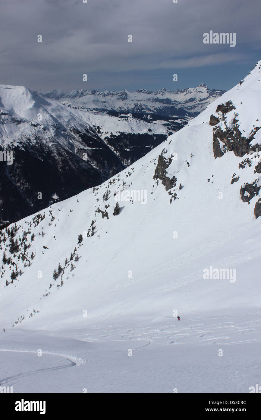 Ski descent Domes de Miage - Stock Image
