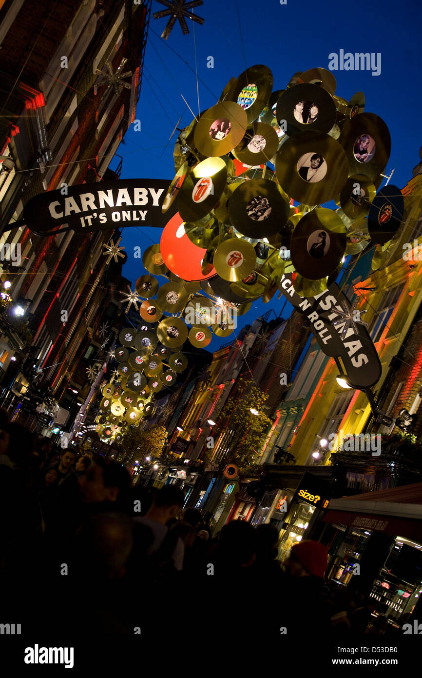Carnaby Street Christmas Decorations - Rolling Stones - Stock Image