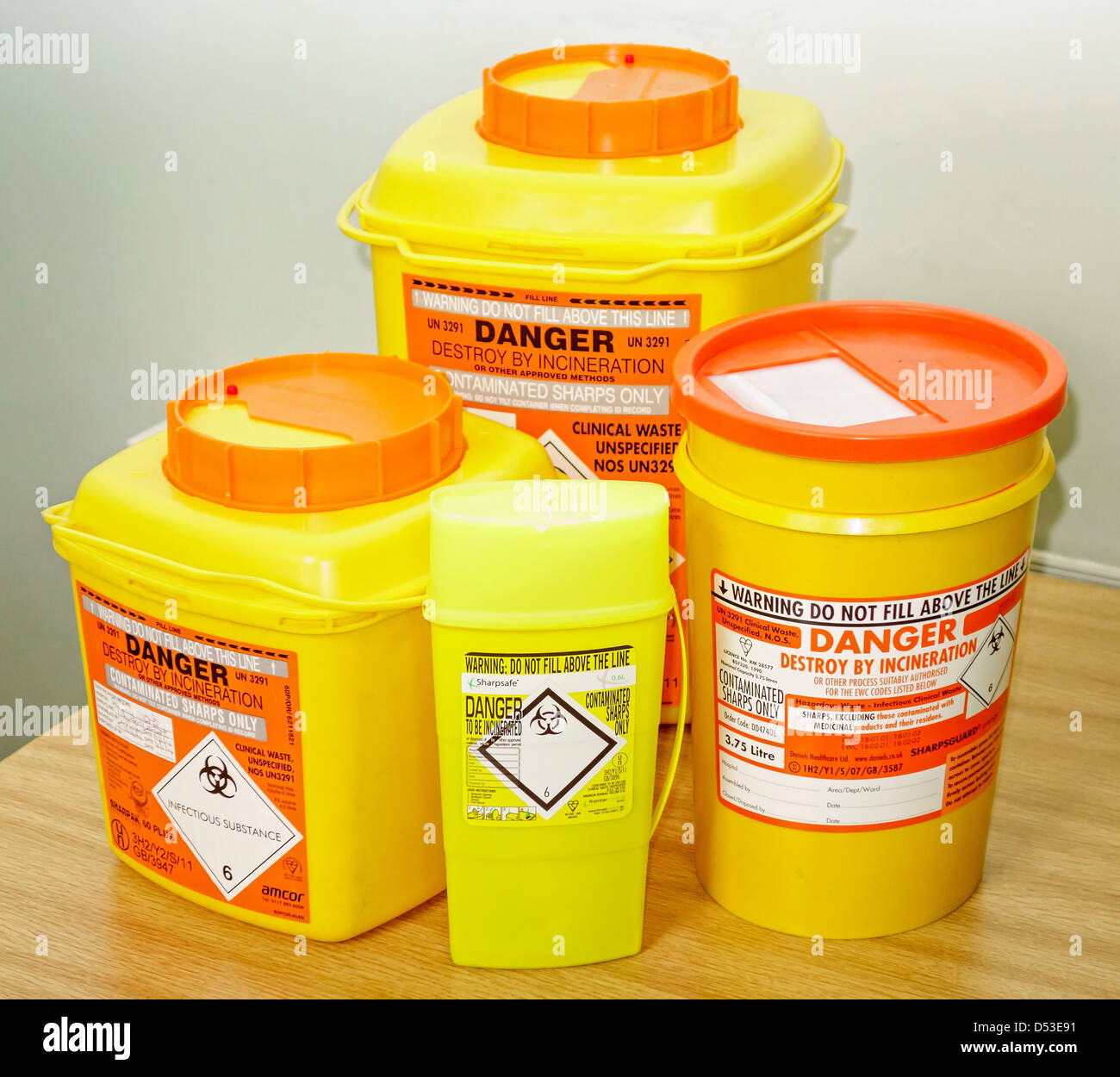Clinical Waste Containers.  Sharps and Medicines - Stock Image