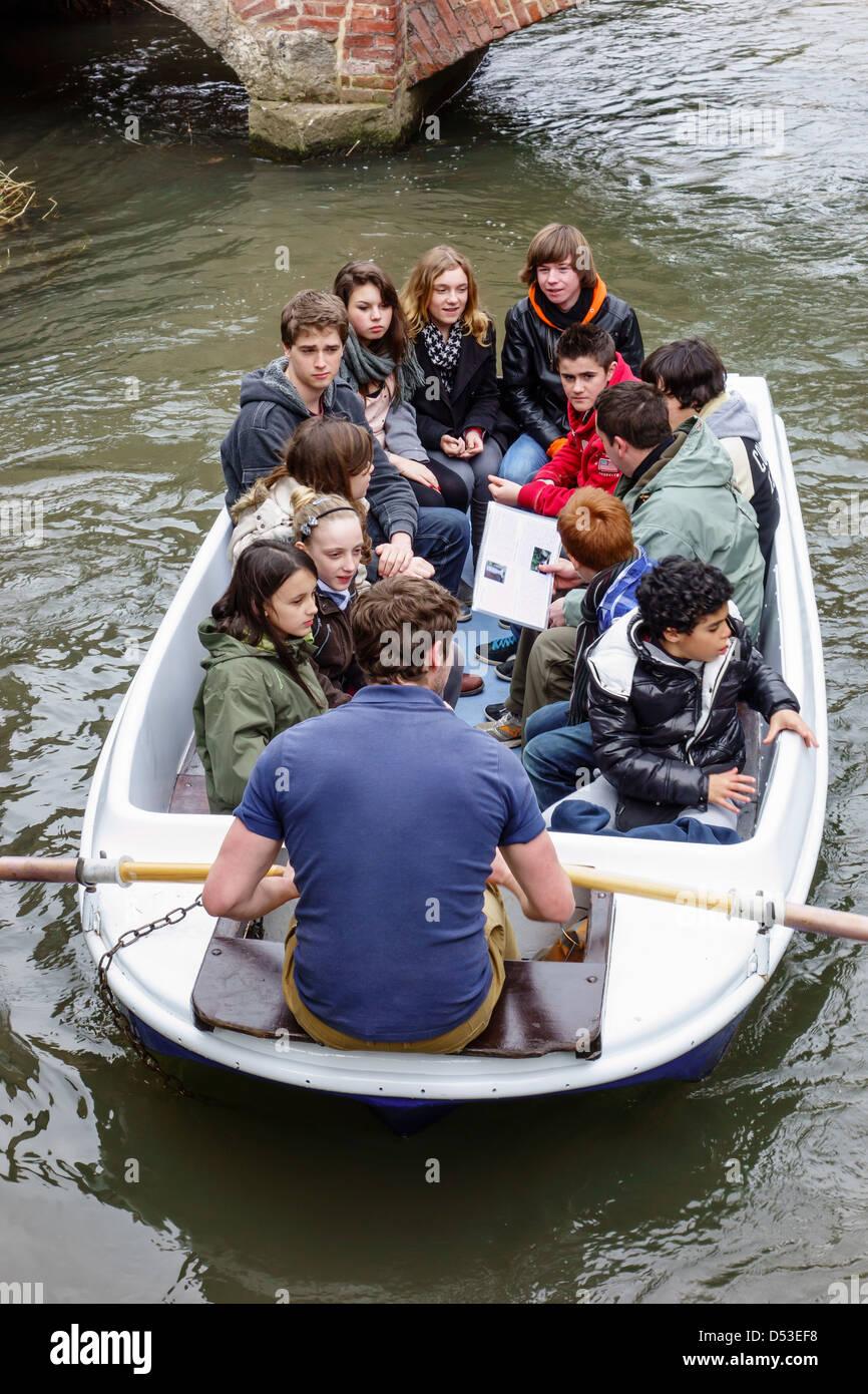 Students School Late Season trip on the River Stour, Canterbury Kent.  Canterbury River Tours - Stock Image