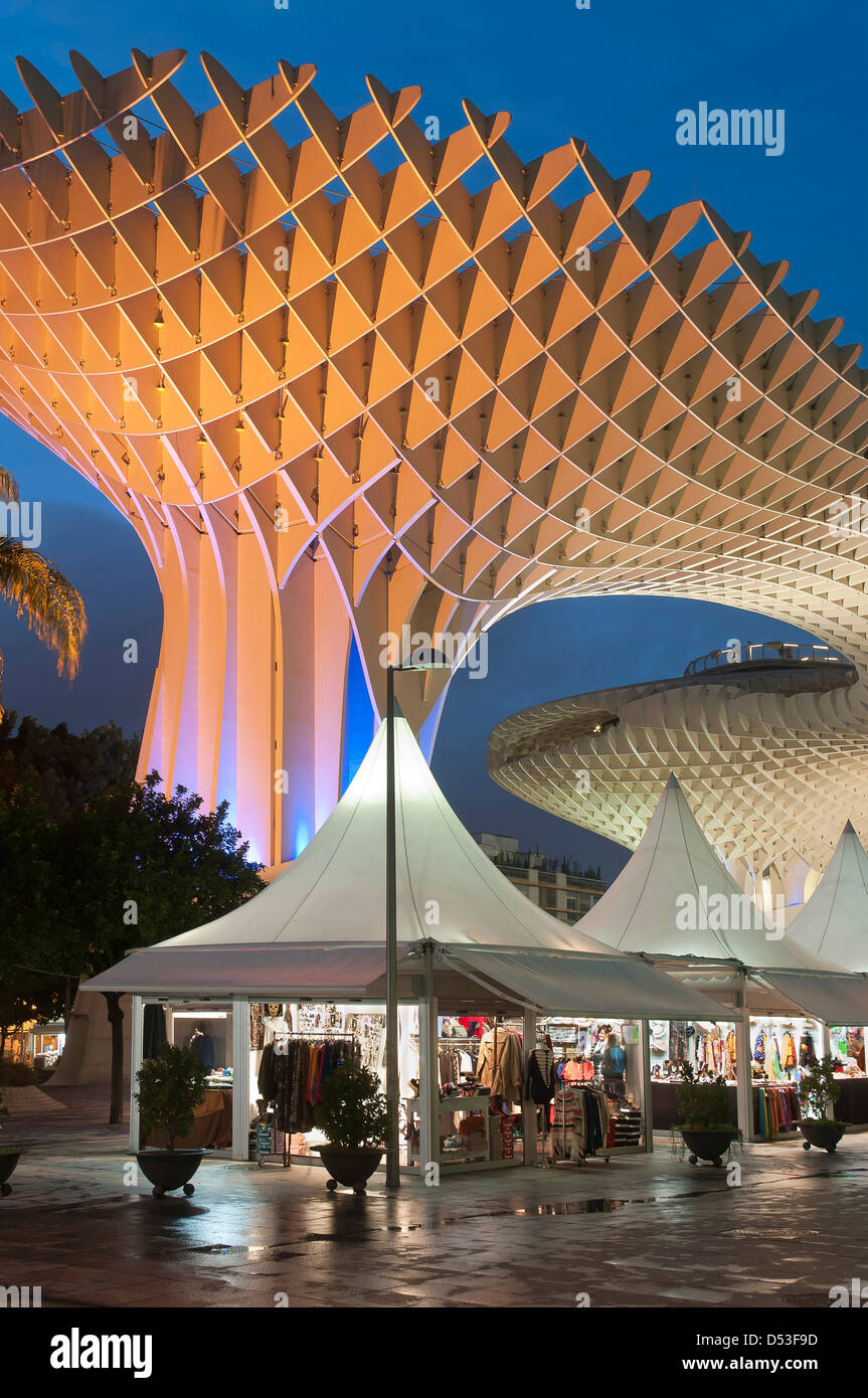 Modern architectural structure called Metropol Parasol, located in the Plaza de la Encarnacion in Seville, Andalusia, - Stock Image