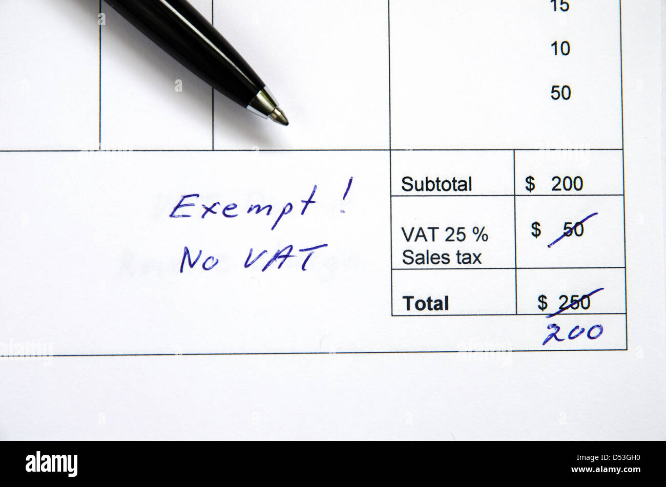 Detail from an invoice with the total amount changed because incorrect VAT, exempt. - Stock Image