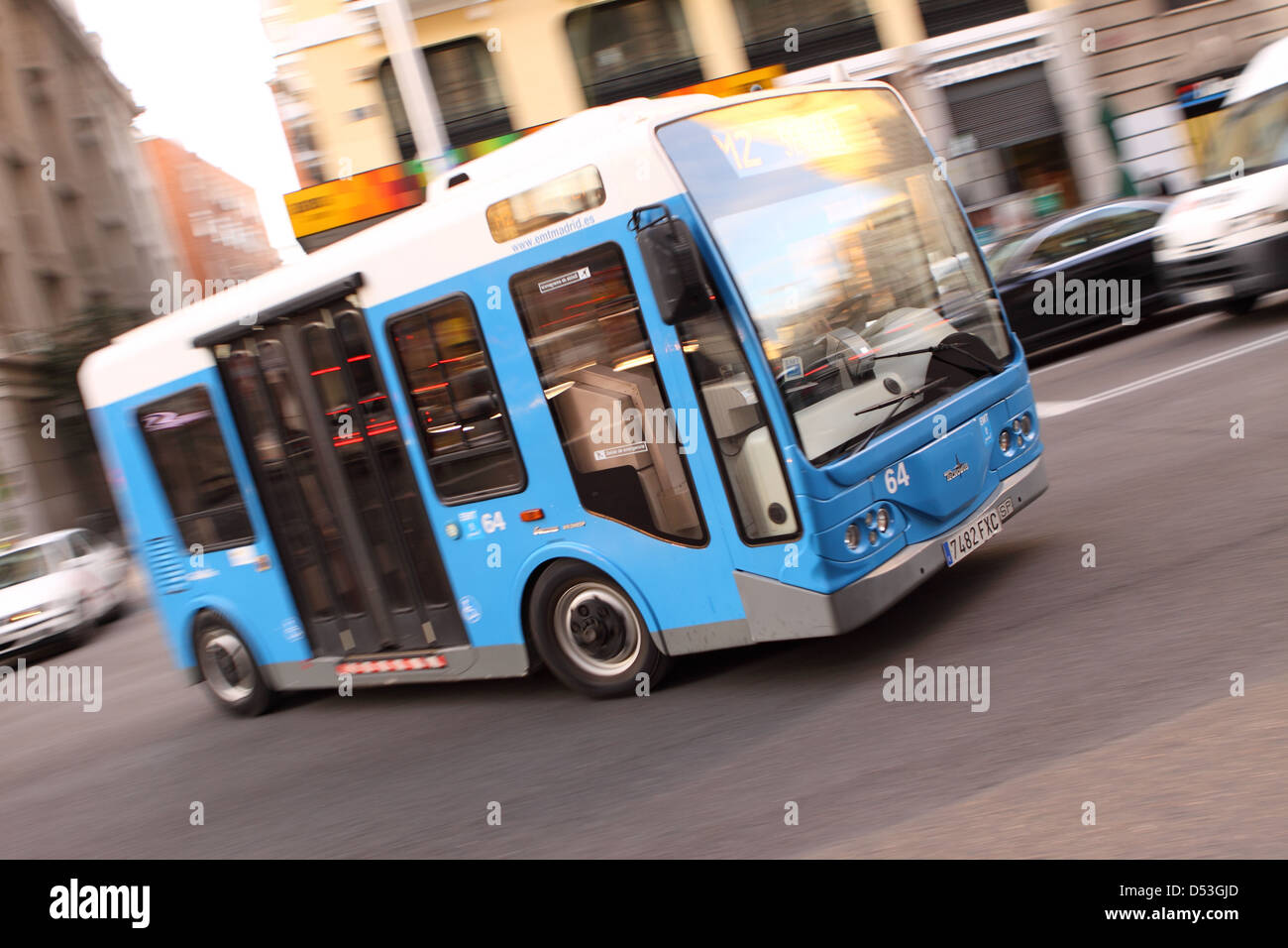 Madrid Spain EMT electric bus built by Tecnobus of Italy for use in the narrow city centre districts of Malasana - Stock Image