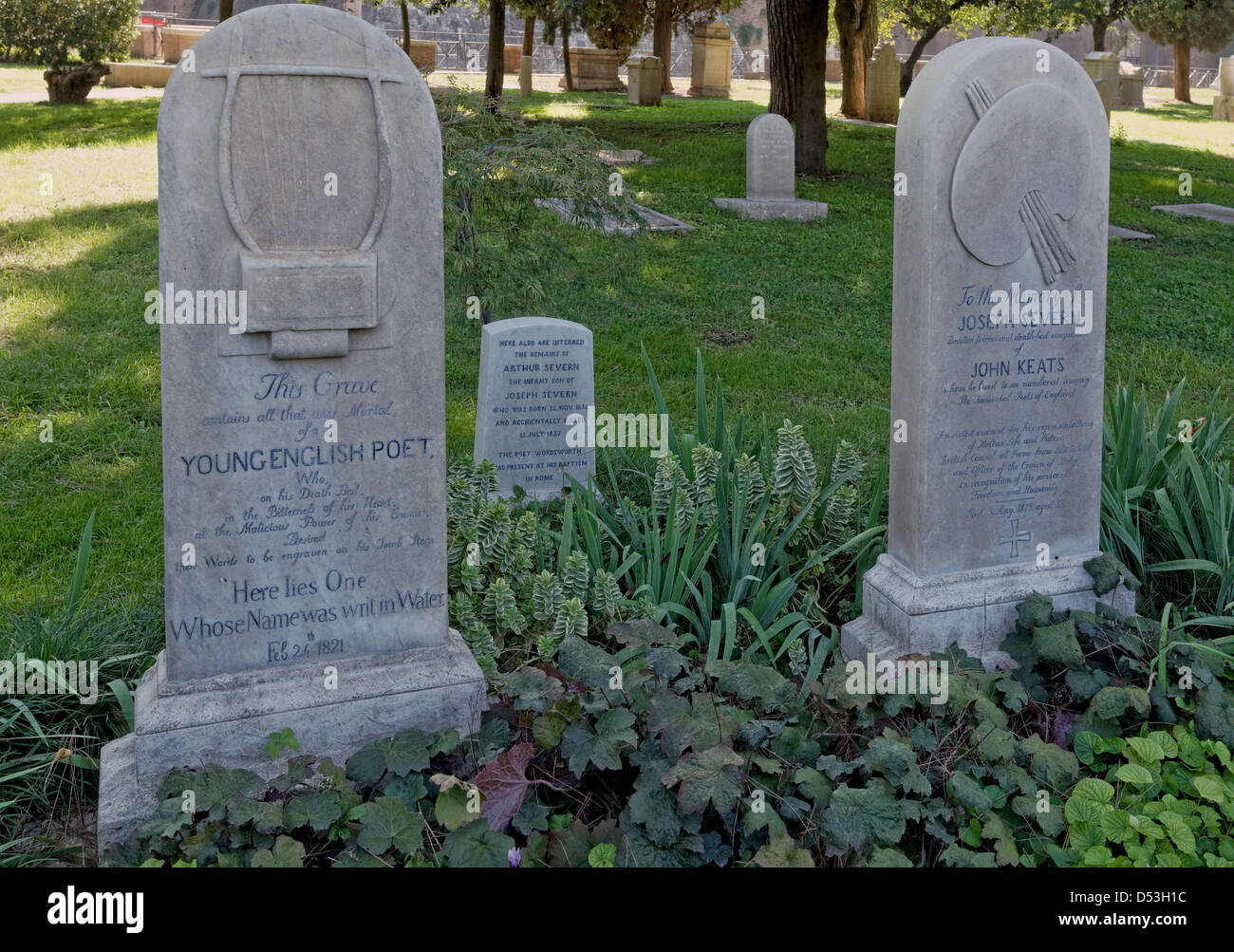 Gravestone of John Keats and his friend Joseph Severn in the Protestant Cemetery of Rome. - Stock Image