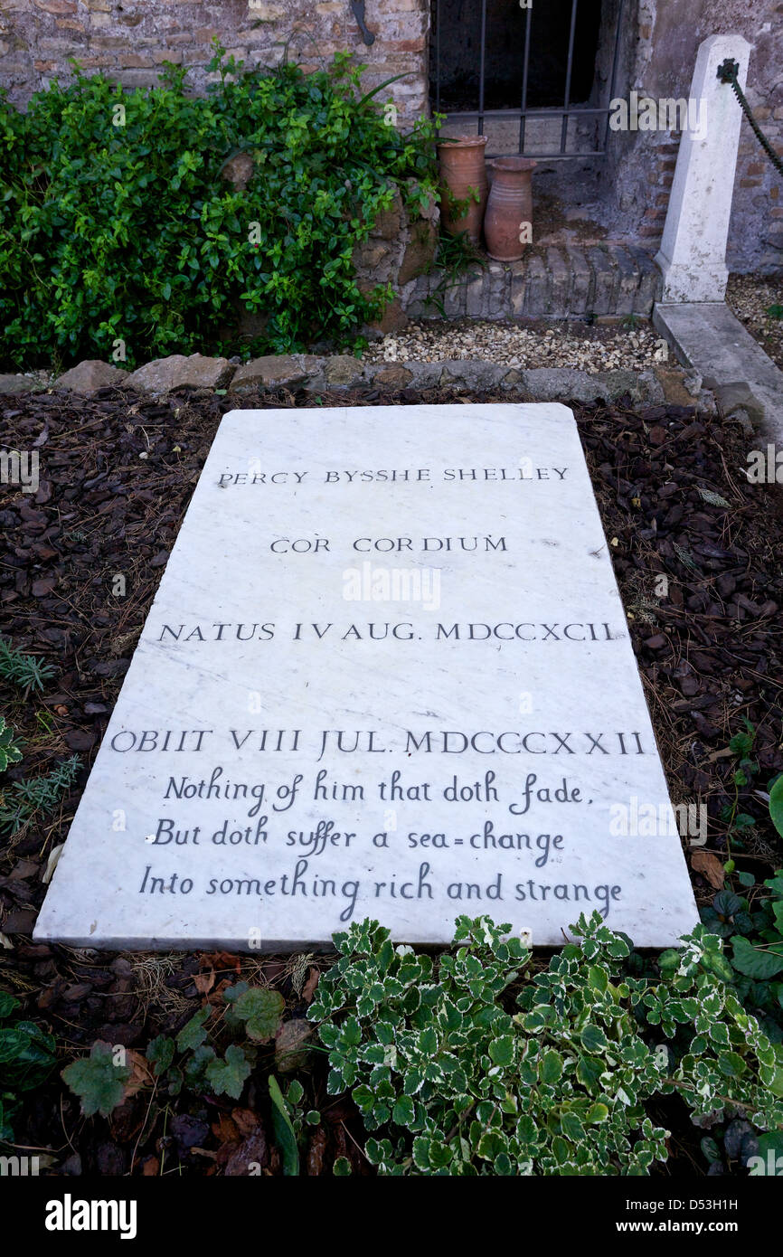 Gravestone of Percy Bysshe Shelley in the Protestant Cemetery of Rome. - Stock Image