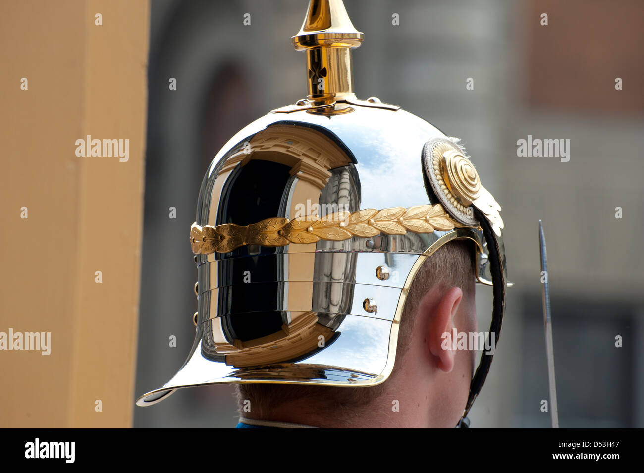 Reflection Of Guard Hut In The Helmet Of The Guard At The Royal