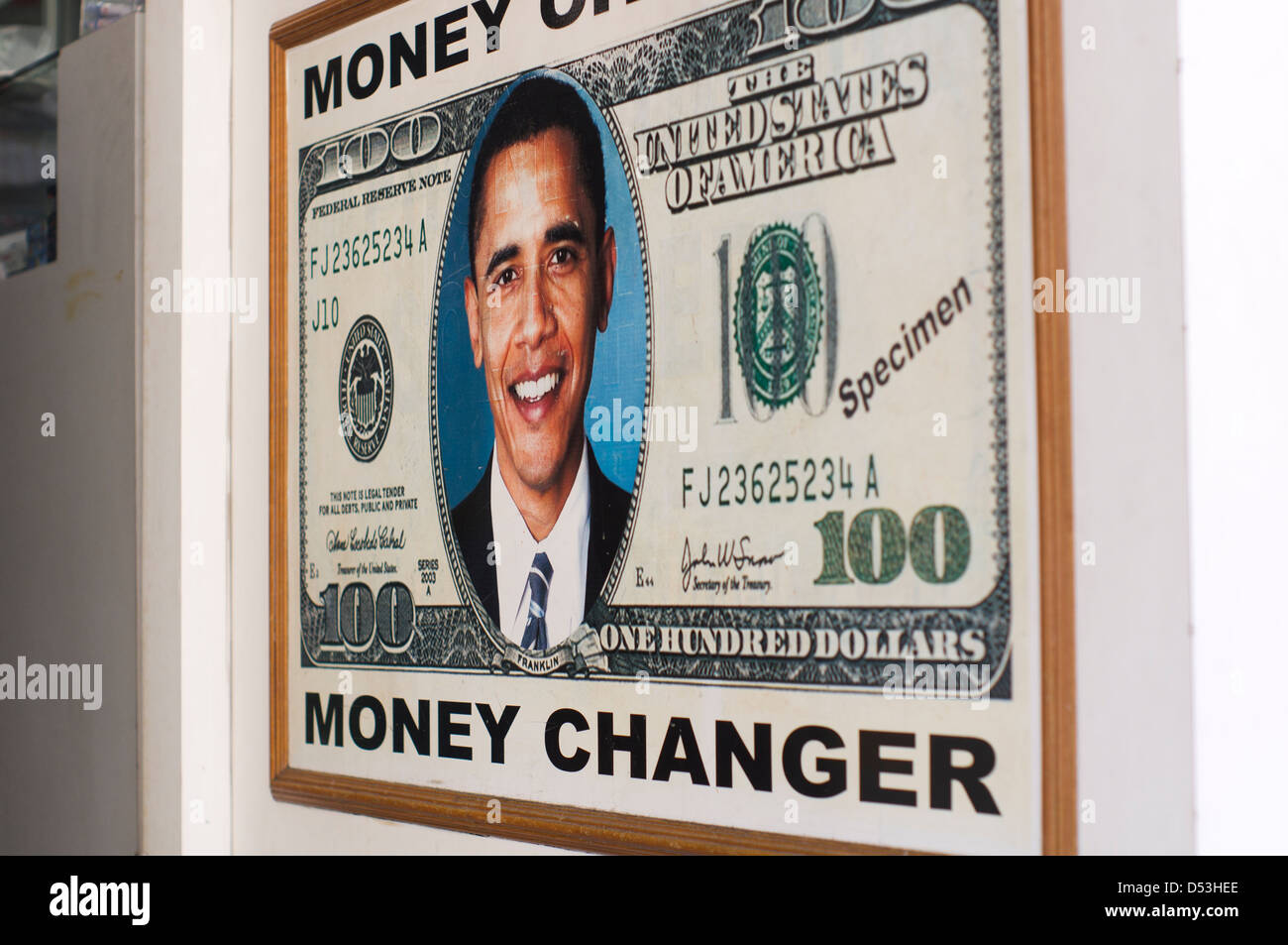 A mock up of Obama images on US dollars, photo is taken in Kuala Lumpur, Malaysia. - Stock Image