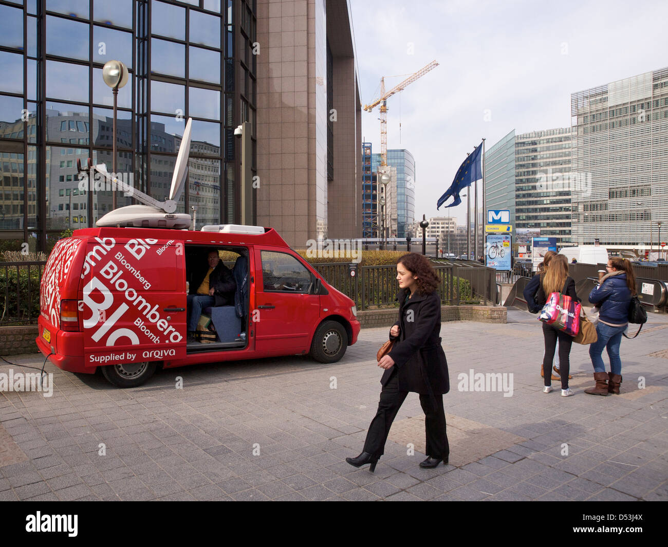 Bloomberg satellite van at the Berlaymont European Union building in Brussels, Belgium - Stock Image