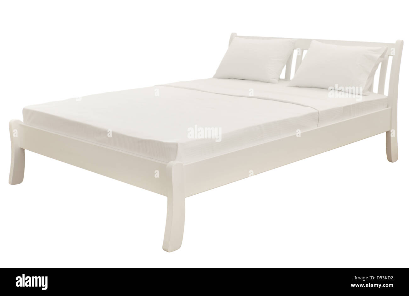 White bed isolated on white - Stock Image