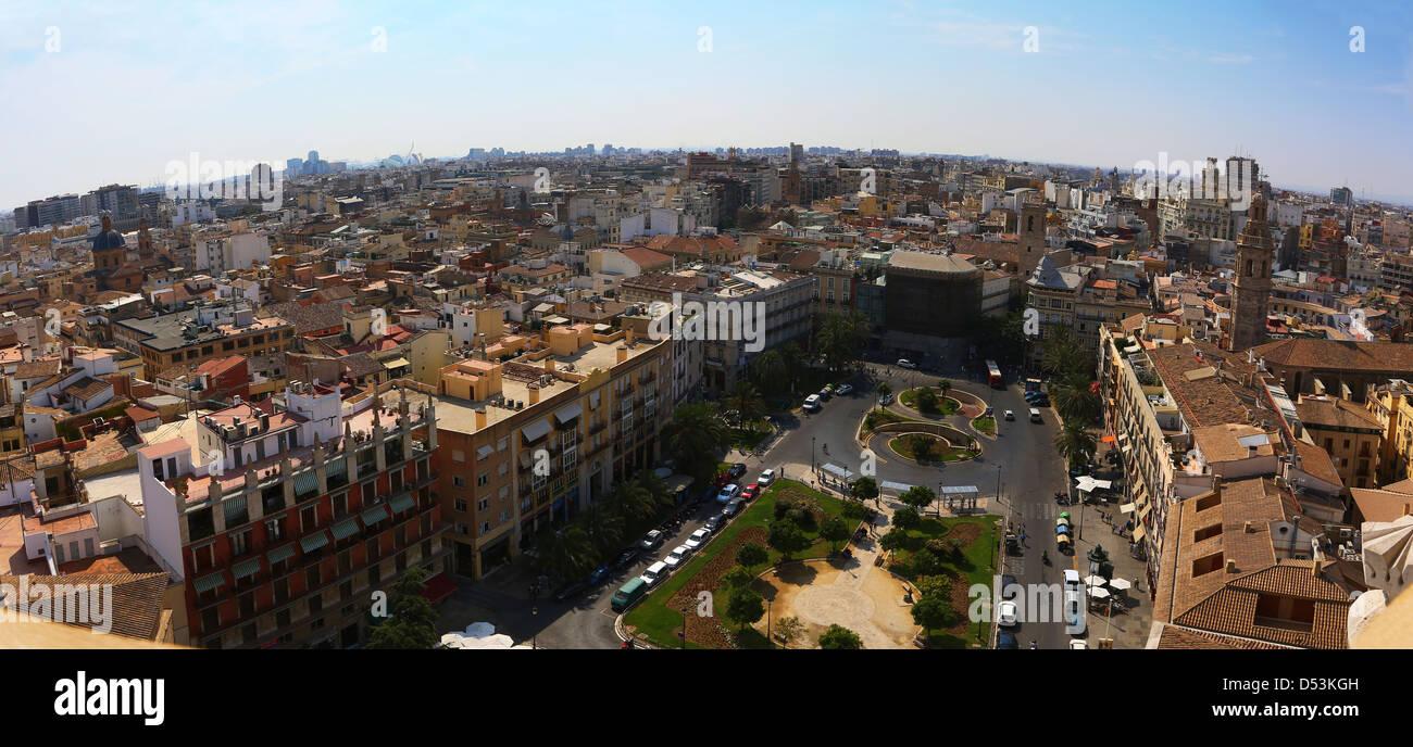 Aerial view of the Plaza de la Reina in Valencia, Spain. Stock Photo