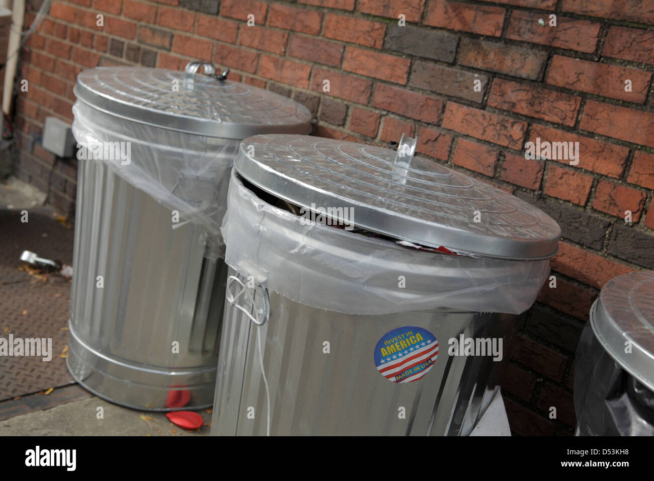 metal garbage cans - Stock Image