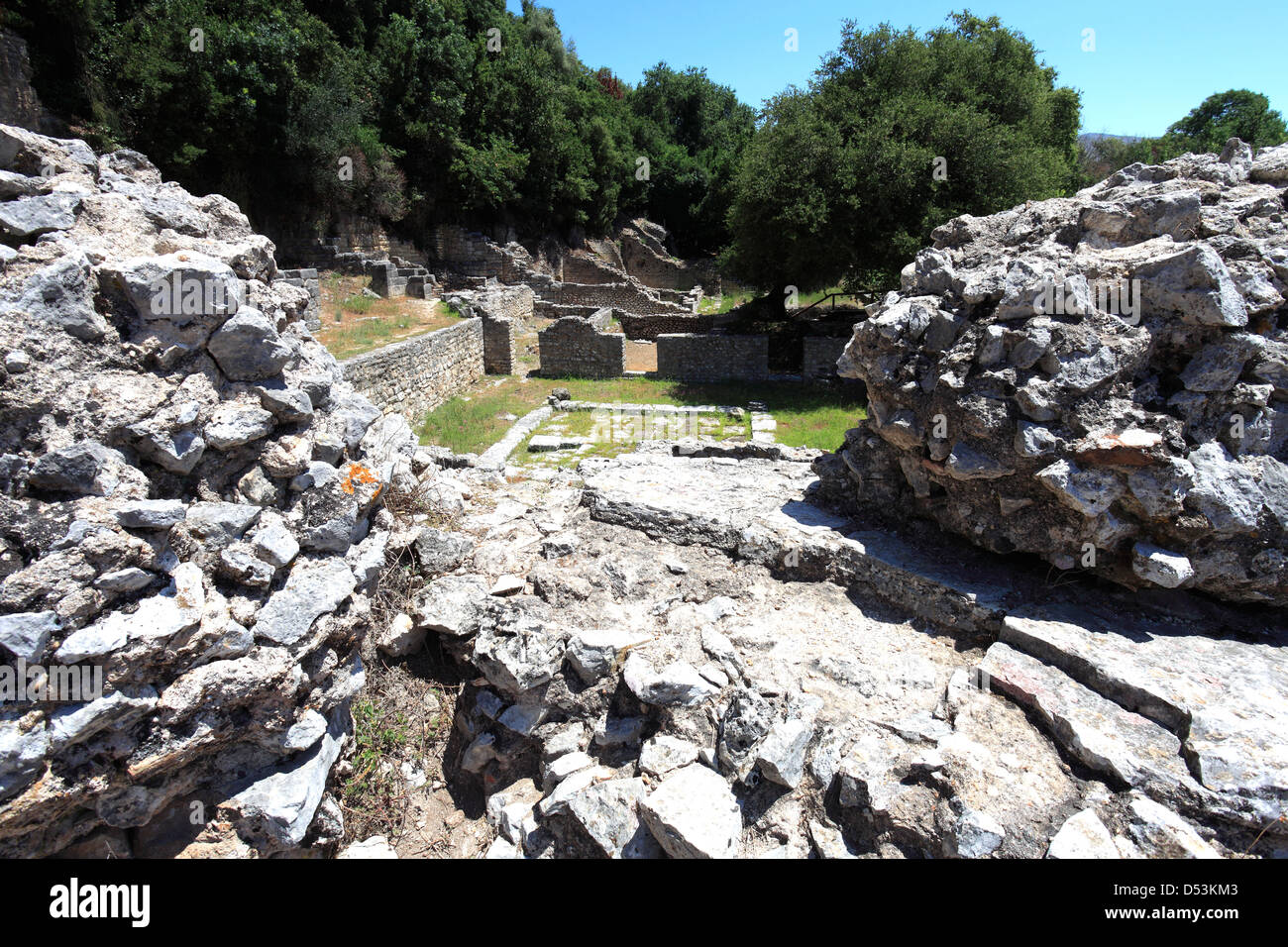 Ruins of the ancient site of Butrint, UNESCO World Heritage Site, Butrint National Park, Saranda District, Southern - Stock Image