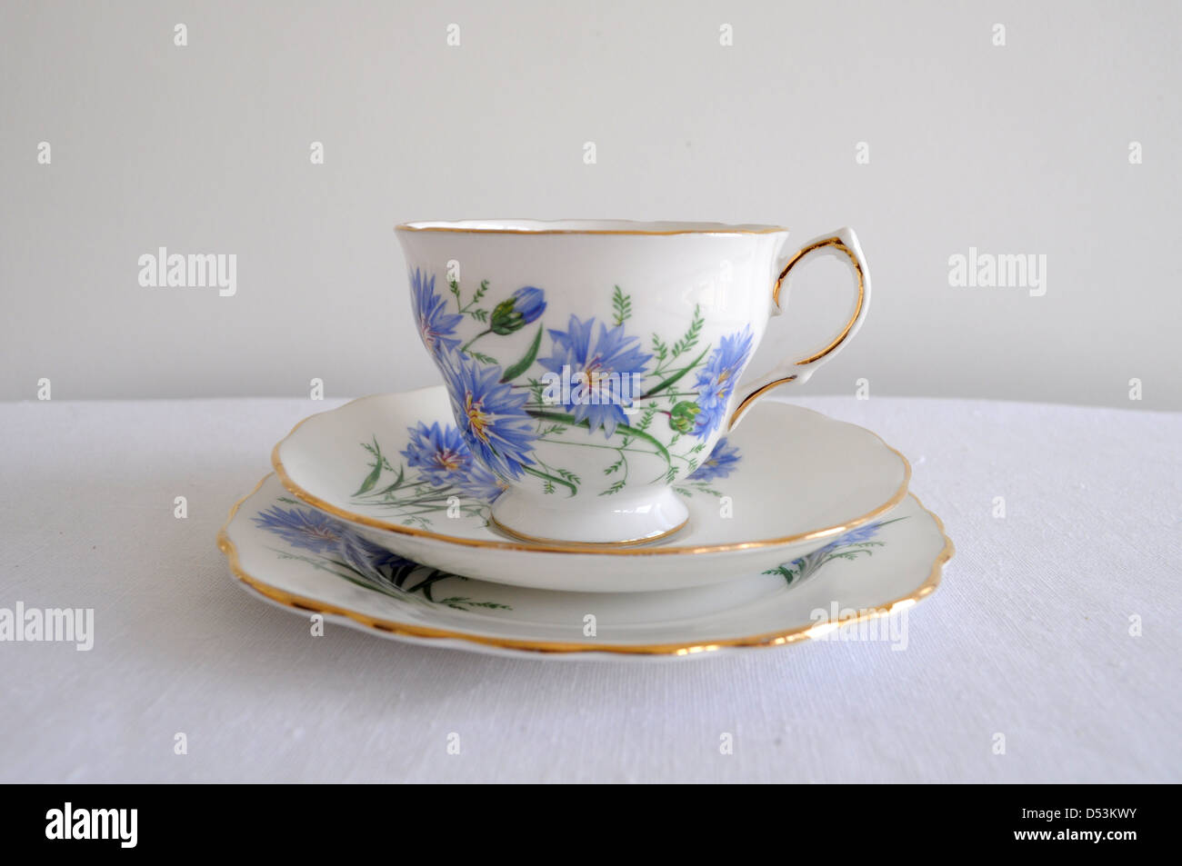 English floral gilded china tea cup trio - Stock Image