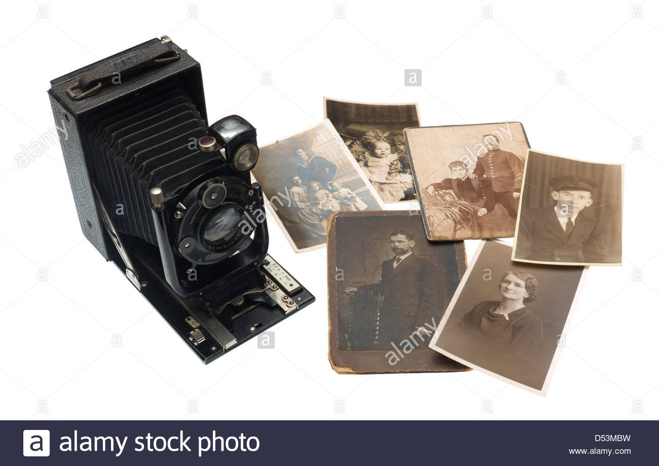 Plate camera and prints - Stock Image