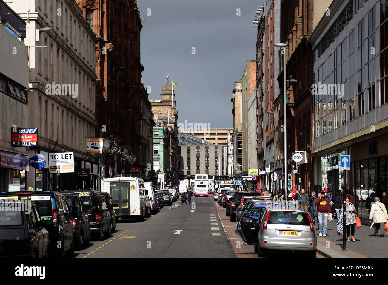 View North along Queen Street in Glasgow city centre, Scotland, UK - Stock Image