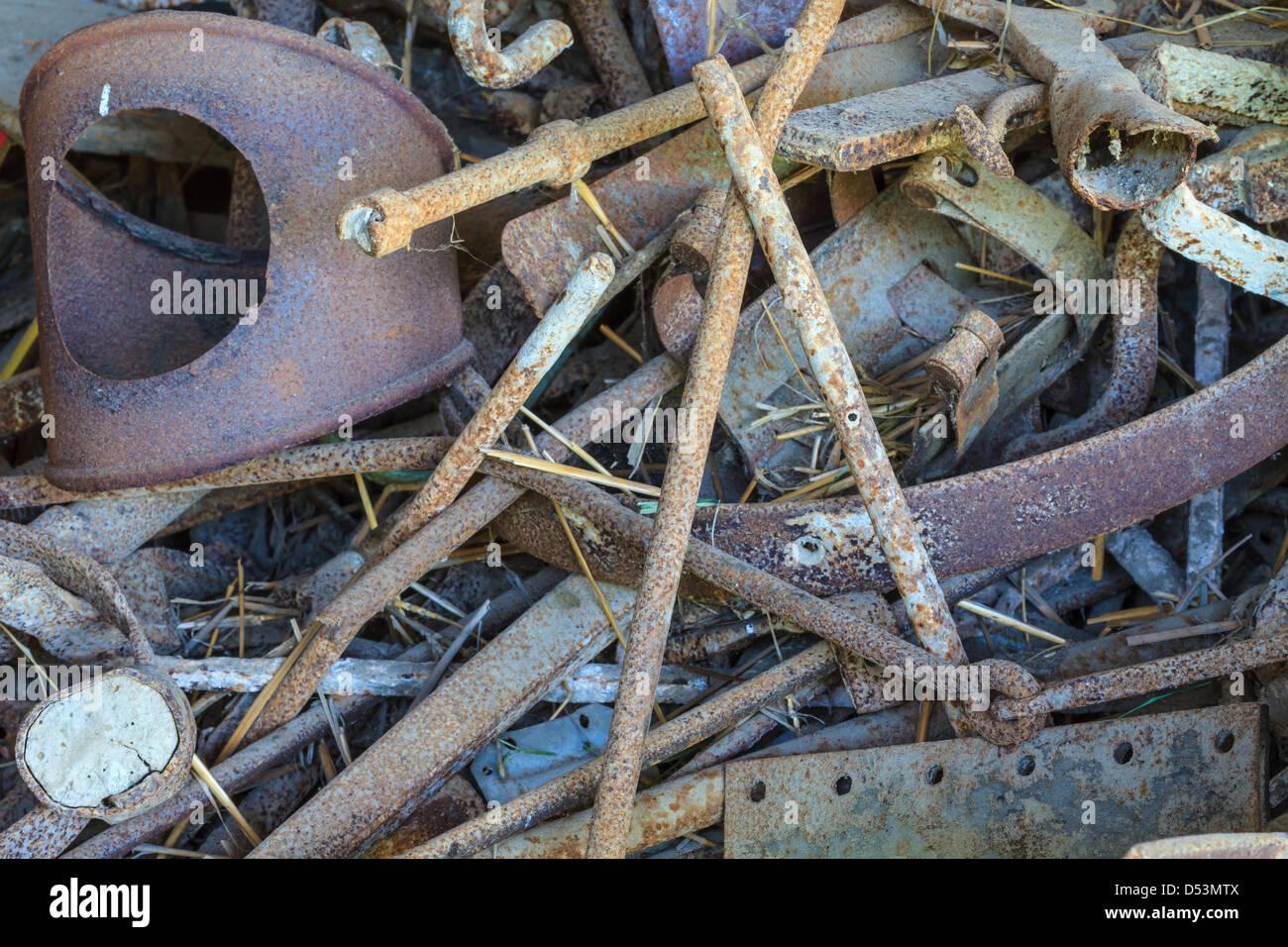 Scrap metal close up in scrap yard - Stock Image