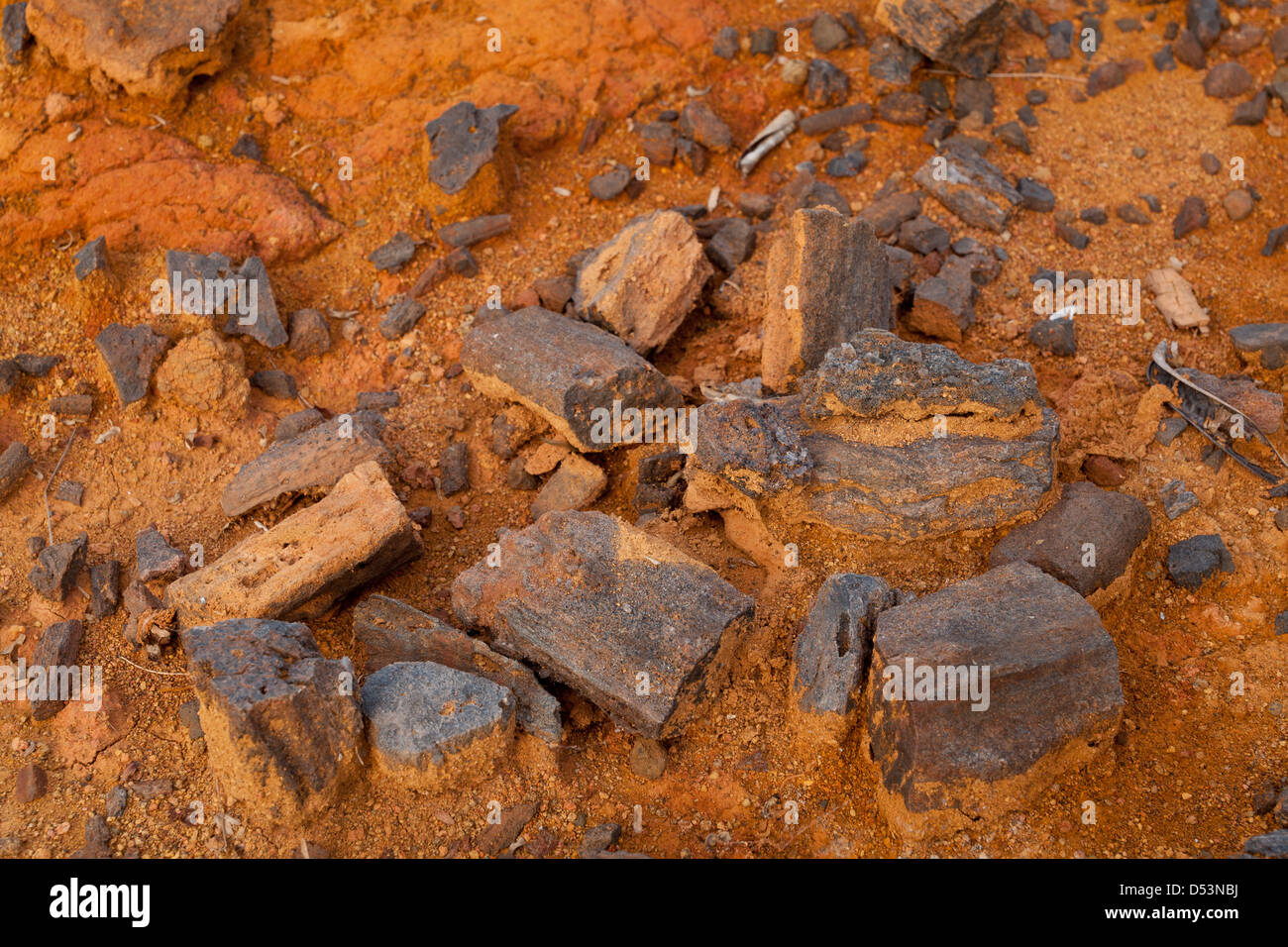 Coal from ancient settlements in Sarigua national park (desert), Herrera province, Republic of Panama. - Stock Image