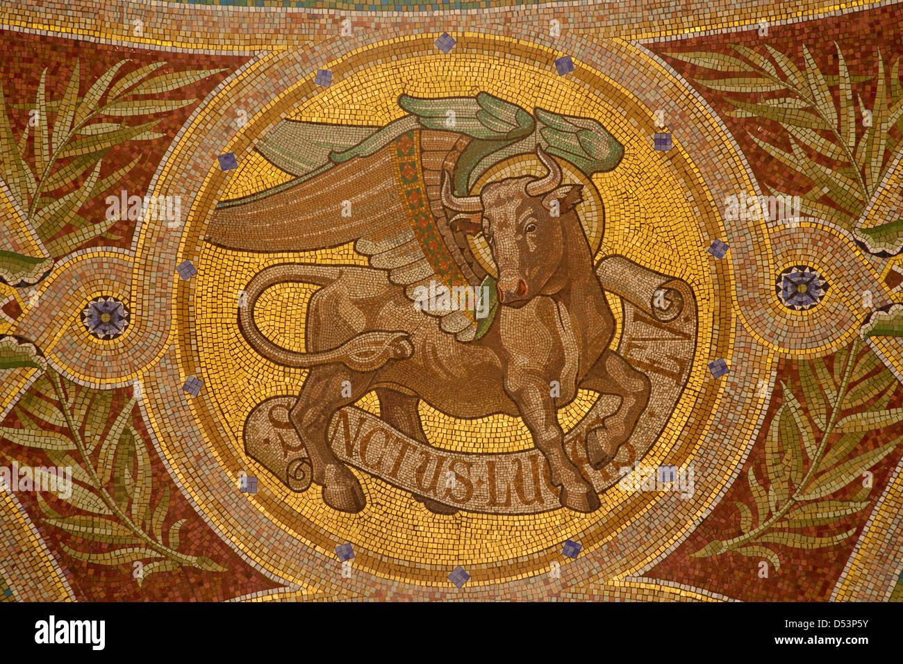 Madrid March 9 Mosaic Of Bull As Symbol Of Saint Luke The Stock