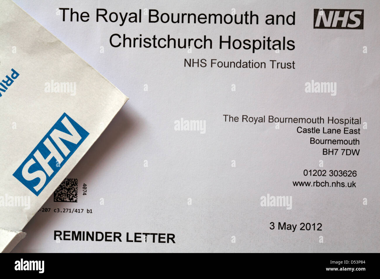 Reminder letter for a hospital appointment from The Royal Bournemouth and Christchurch Hospitals NHS Foundation - Stock Image