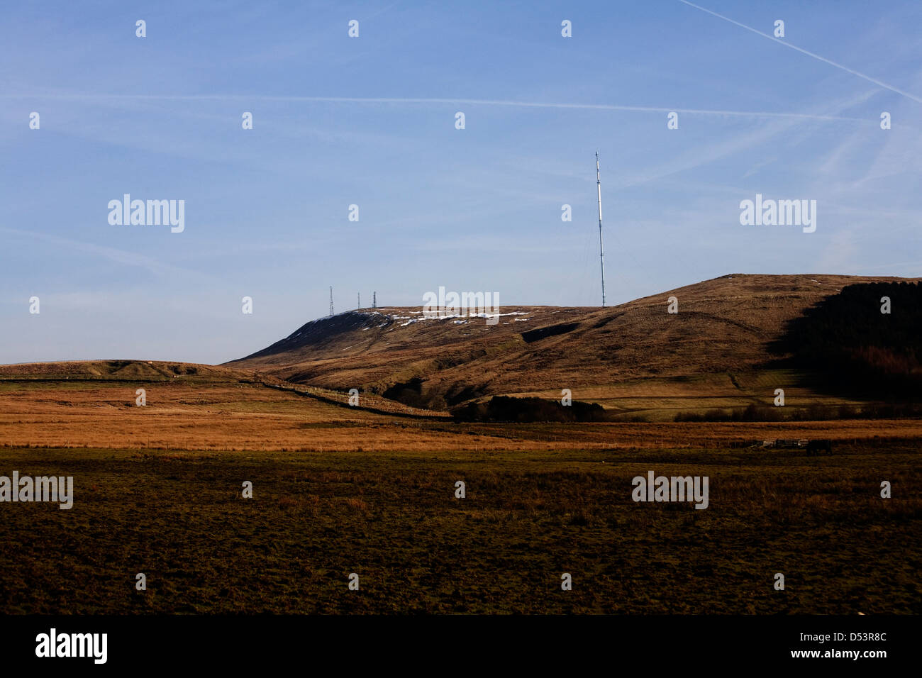 Television masts on top of Winter Hill in winter Rivington near Horwich Bolton Lancashire England Stock Photo