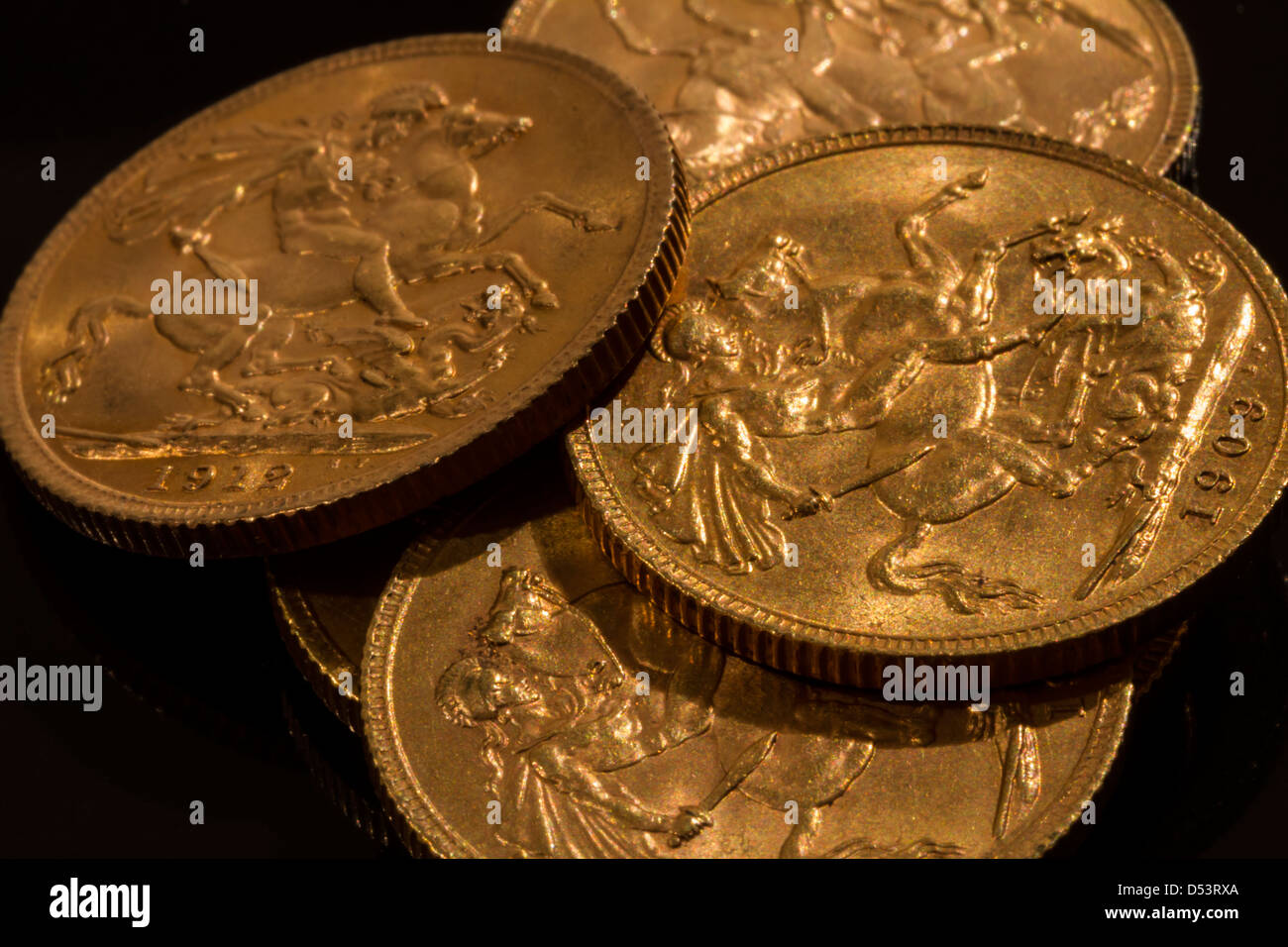 Gold Sovereigns - Stock Image