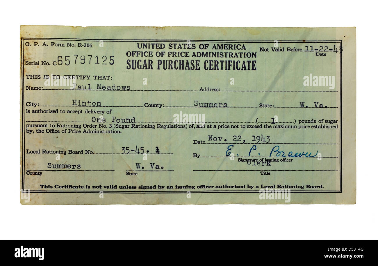 A certificate used to purchase sugar that was rationed during the war, vintage 1943. - Stock Image