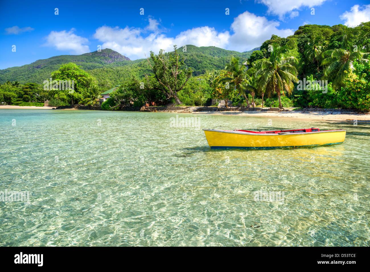 Port Launay beach, Mahe island, Seychelles Stock Photo