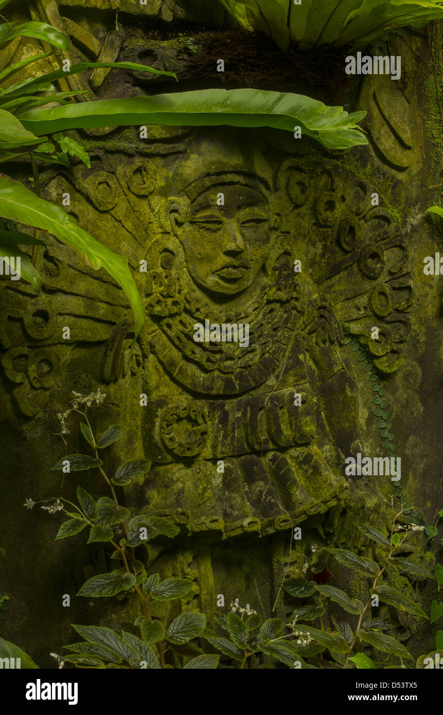 Mayan relief carving greenhouse decoration at Selby Gardens. - Stock Image