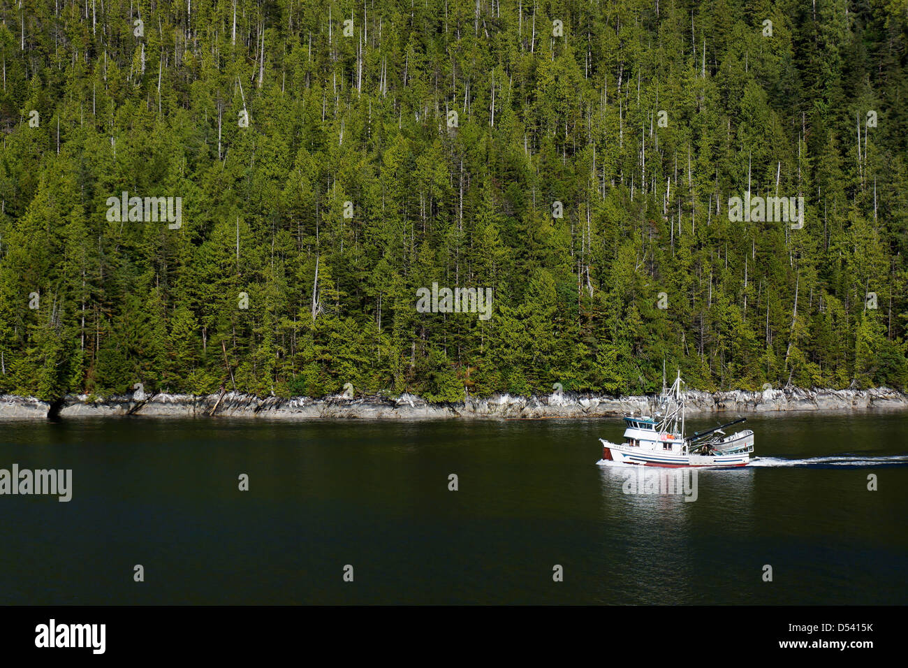 Commercial fishing vessel Iver P Nore in Tolmie Channel, Inside Passage, British Columbia, Canada - Stock Image
