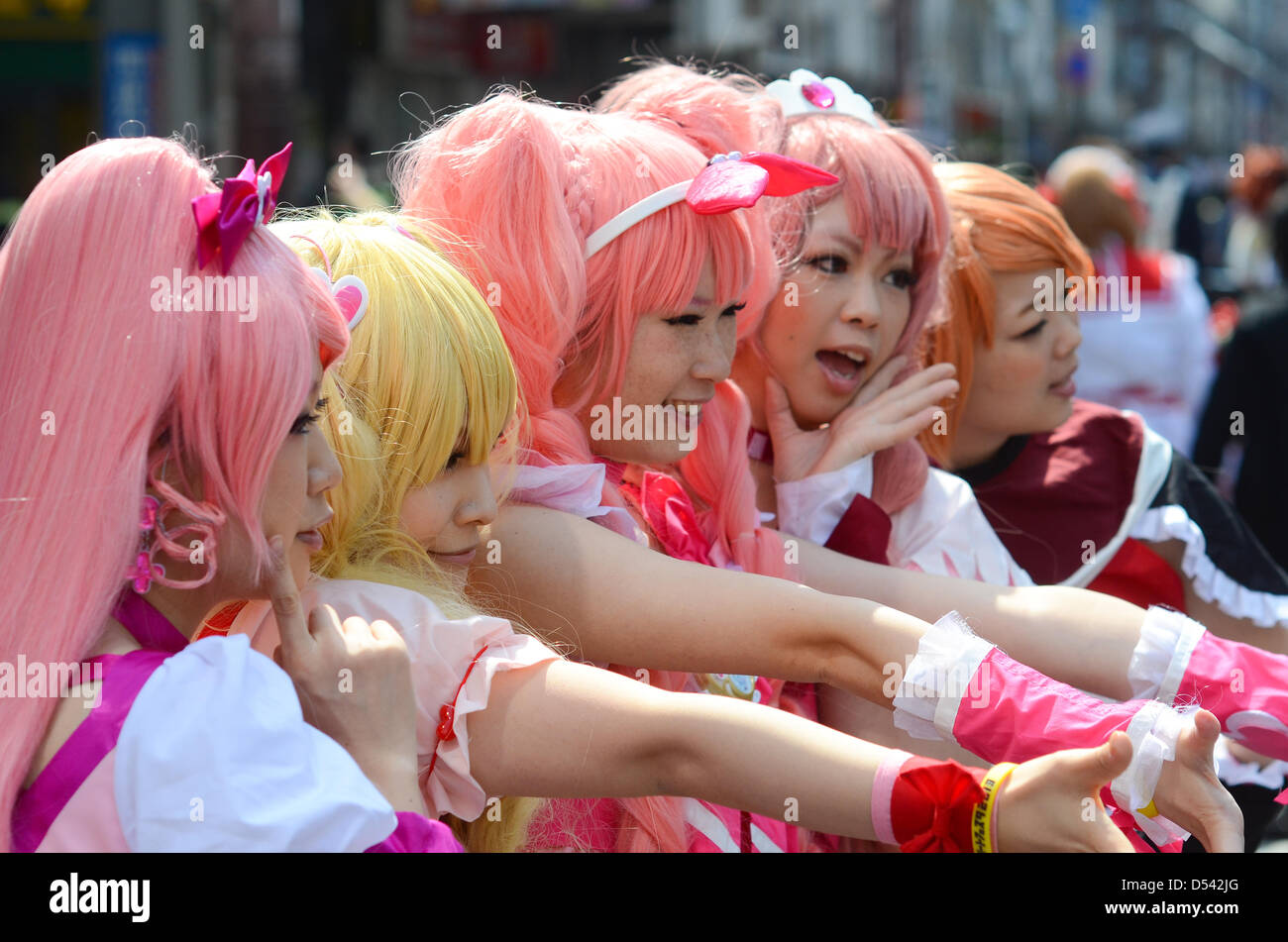 Osaka, Japan. 24th March, 2013. Thousands gather in the centre of Osaka on Sunday for the annual Nipponbashi Street - Stock Image