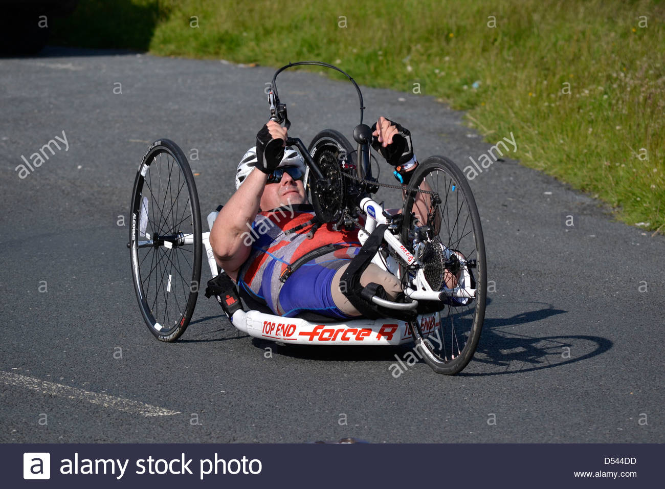 Team True Spirit competitor taking part in the Bolton Ironman, July 2012 - Stock Image
