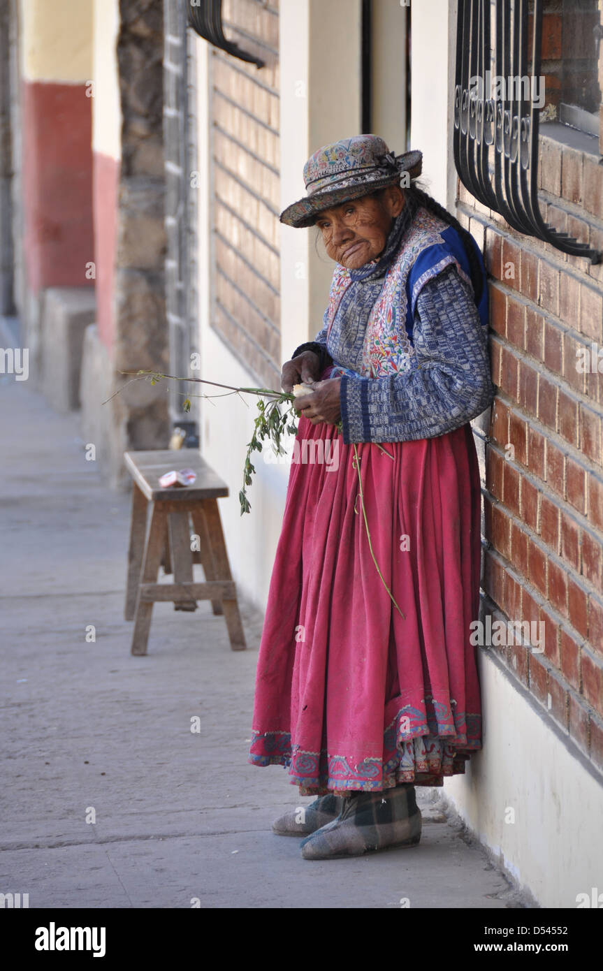 mature Indigenous woman in La Paz, Bolivia - Stock Image
