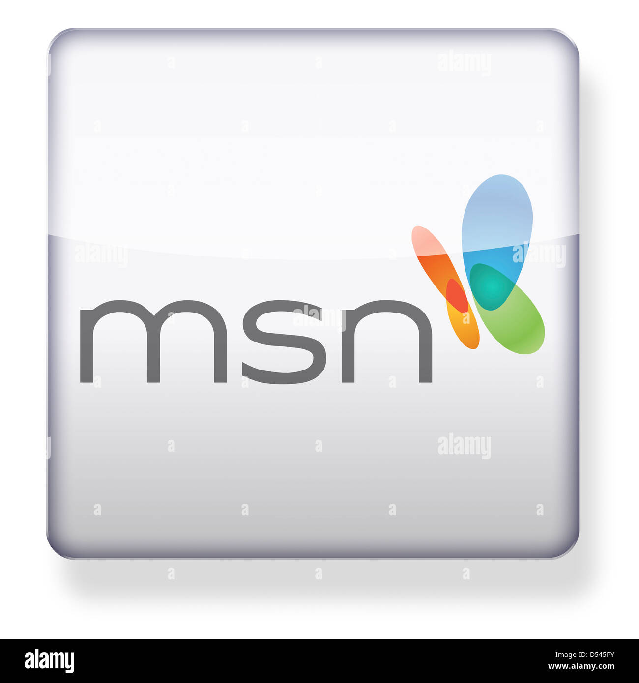 msn logo as an app icon clipping path included stock photo