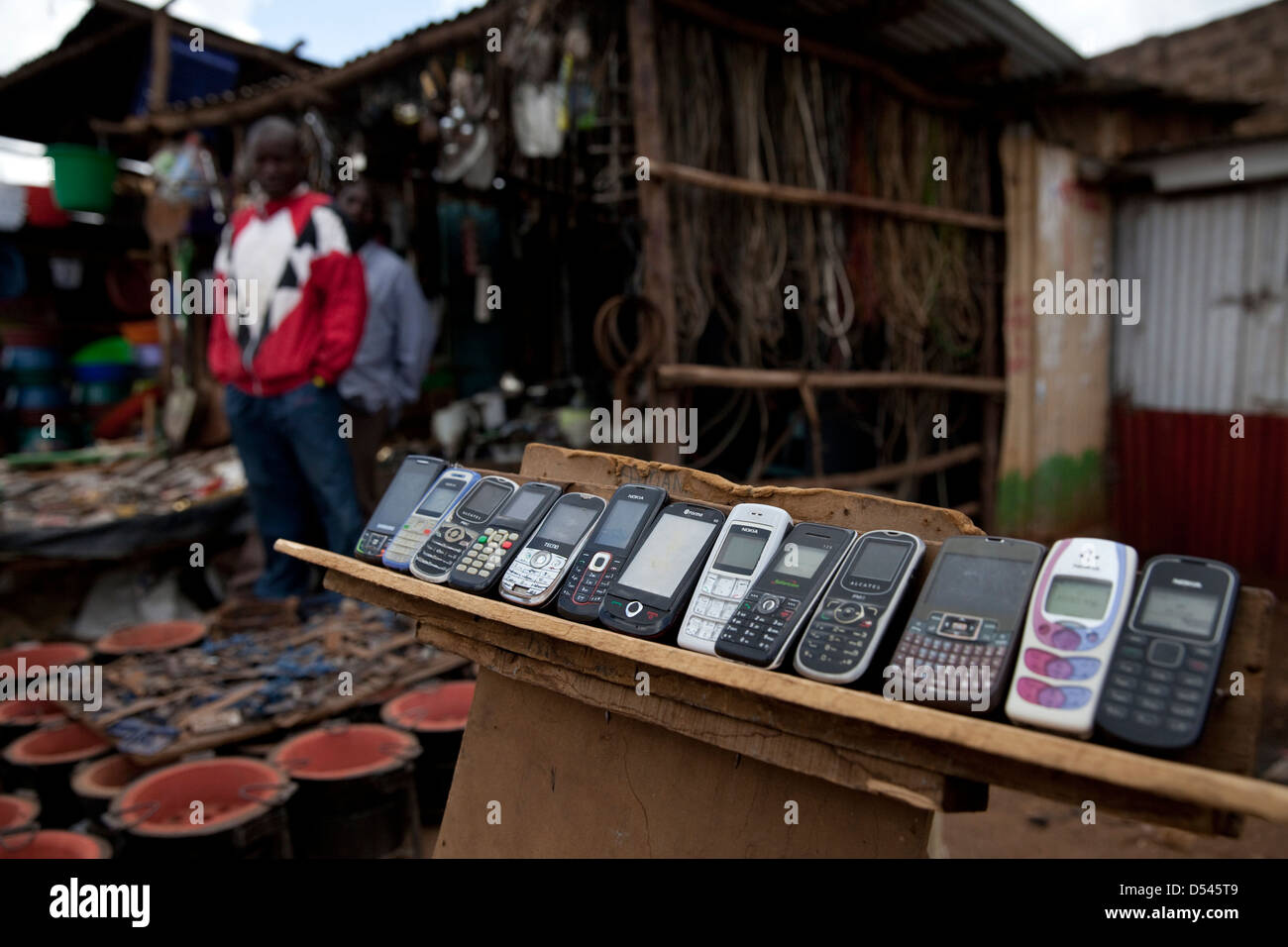 Mobile phones in Africa Stock Photo