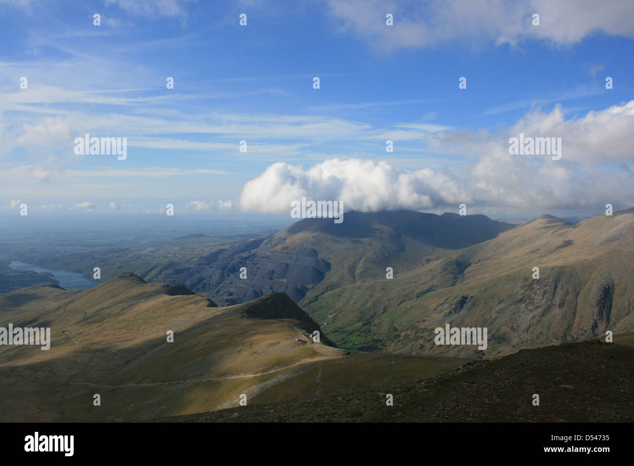 The route down from Snowdon as part of the National Three Peaks Challenge - Stock Image