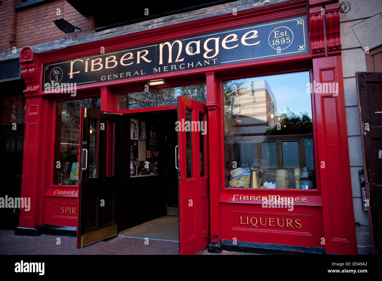 Belfast Northern Ireland Fibber Magee Travel Tourism Bar Restaurant Entertainment Night Life - Stock Image