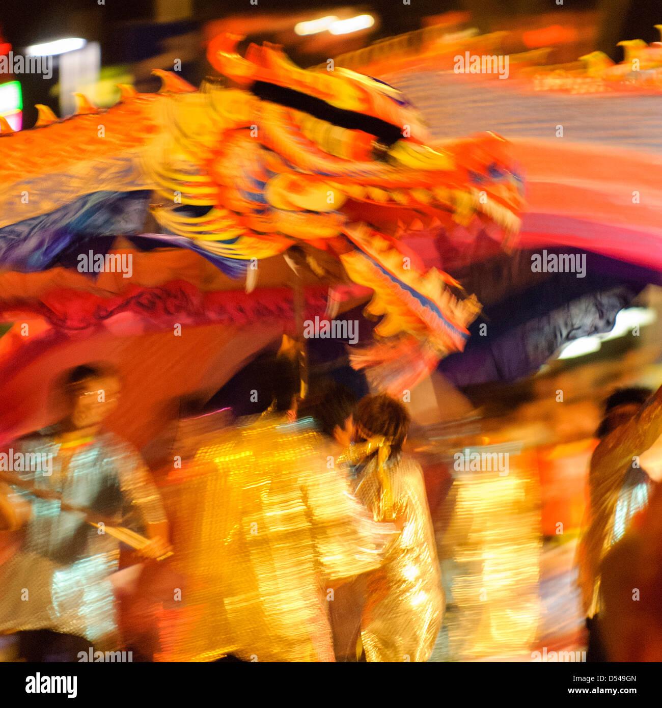 Dragon Dance at Chingay, Singapore - Stock Image