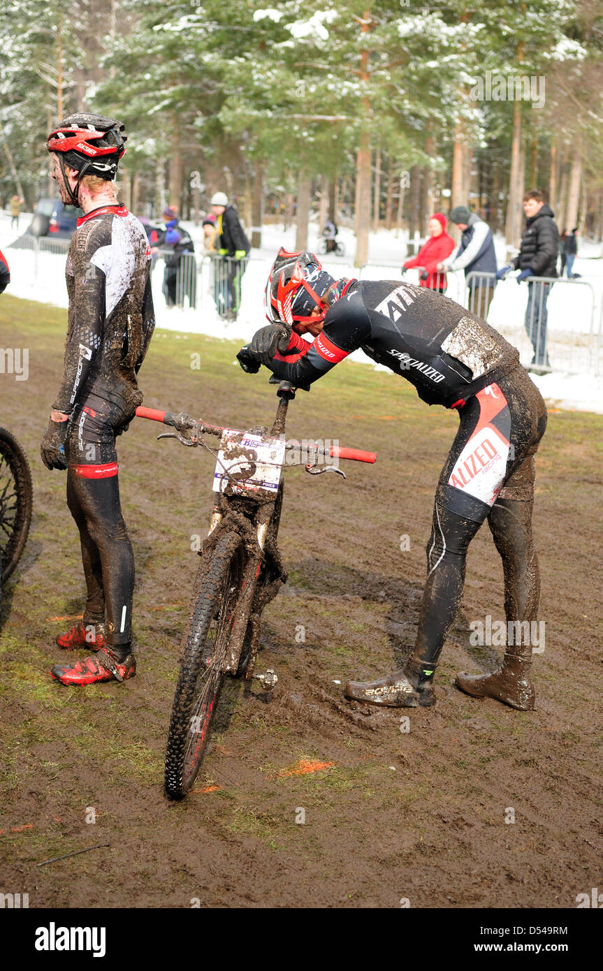 Sherwood Pines,Notts.UK. 24th March 2013. Series 1 of the British cycling national cross country MTB, Round 1. Competiters - Stock Image